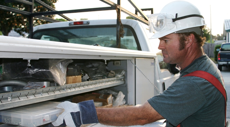 Electrician With Service Truck