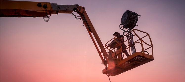 Lighting technician working on a shoot