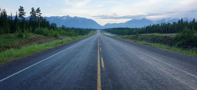 Centre of a long deserted Alaska Highway